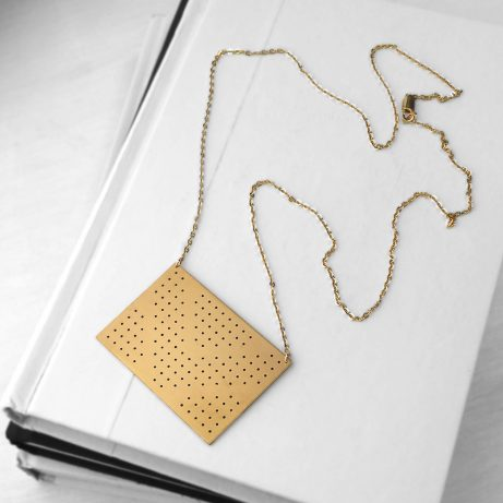 Connect Dots Necklace in Golden Brass/ Black
