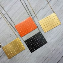 Connect the Dots Necklaces in Gold Tone Brass with white dots, Flame Red Copper, Blackened Copper, or Gold Tone Brass with black dots