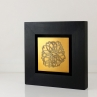 """Wire Frame Cherry Blossom (2015) // Etched  brass, patina // 5"""" x 5"""" x ¾""""D (framed)"""