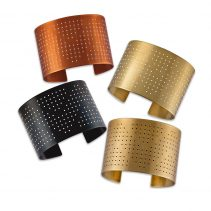 Connect the Dots Cuffs in Flame Red Copper (top), Golden Brass/White (center right), Golden Brass/Black (bottom), and Blackened Copper (center left)