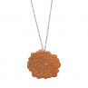 "Digital Mum Necklace/Flame Red Copper/26"" Sterling Silver Chain"