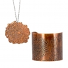 Digital Mum Necklace (left) in Flame Red Copper and Cuff (right) in Antique Copper