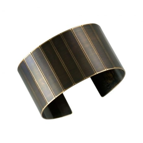 Large Narrow Facet Cuff/ Blackened Brass