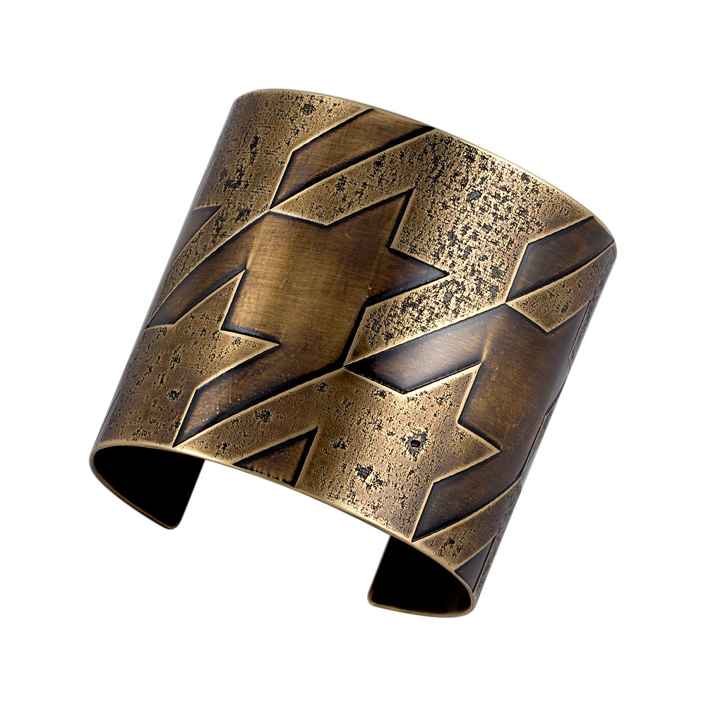 Grande Houndstooth Cuff/ Antique Brass finish