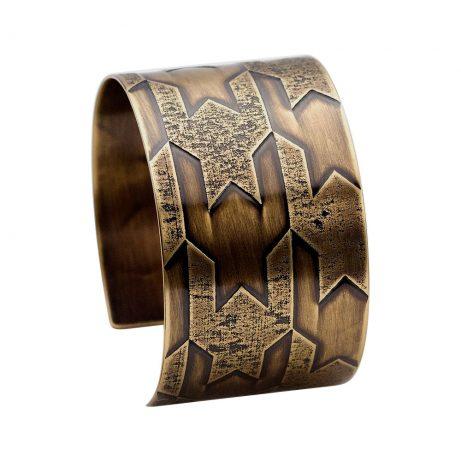 Asymmetrical Pattern Houndstooth Cuff/Antique Brass Finish