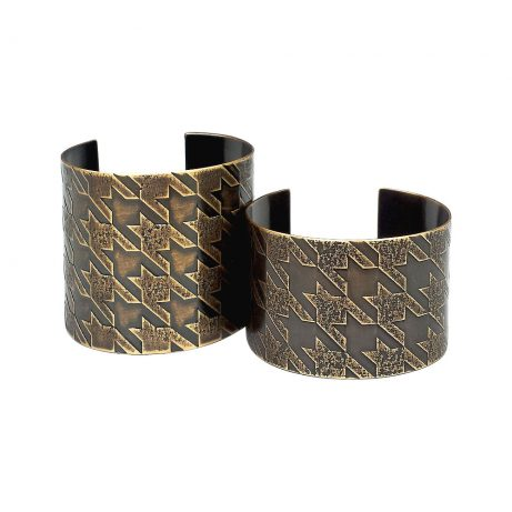 Wide (left) and Narrow (right) Small Pattern Houndstooth Cuffs in Antique Brass