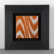 "Ikat (2016) // Etched  copper, gesso // 2 ½"" x 2 ½"""