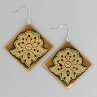 Lacy Diamond Earrings in Antique Brass