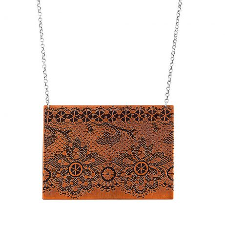 Lacy Necklace in Antique Copper with sterling silver chain