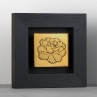 "Peony (2016) // Etched brass // 2 ¼"" x 2 ⅝"" (panel only), 5"" x 5"" x ¾"" D (framed)"