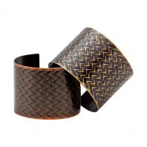 En ZigZag Cuffs in Antique Copper (bottom left) and Antique Brass (top right)