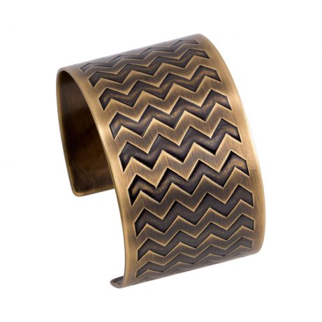 Narrow En ZigZag Cuff/ Antique Brass