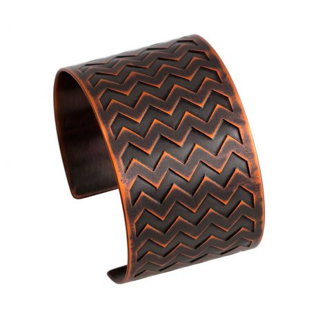 Narrow En ZigZag Cuff/ Antique Copper
