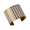 En ZigZag Cuff in Golden Brass/White