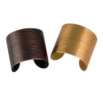 Faux Bois Cuffs in Blackened Copper (left) and Golden Brass (right)