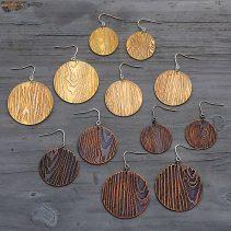 Faux Bois Knot Hole Earrings in Golden Brass and Blackened Copper