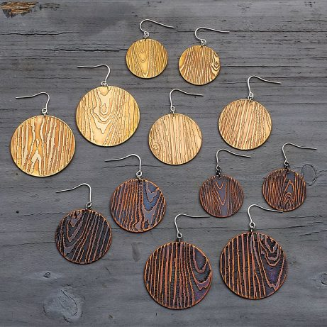 Faux Bois Knot Hole Earrings in Golden Brass and Blackened Copper