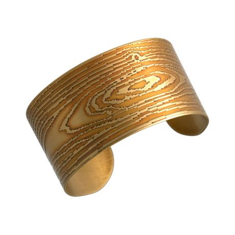 Narrow Faux Bois Cuff/ Golden Brass