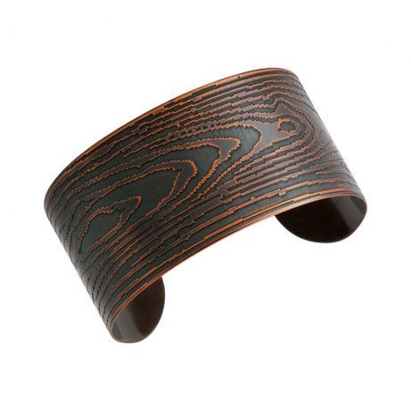 Narrow Faux Bois Cuff/ Blackened Copper
