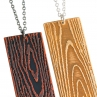 Detail of Faux Bois Necklaces in Blackened Copper (left) and Gold Tone Brass (right)