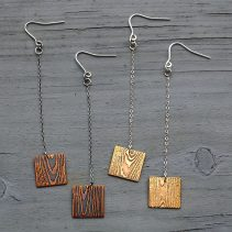 Faux Bois Off-Cut Earrings in Blackened Copper (left) and Golden Brass (right)