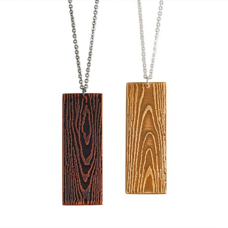 Faux Bois Necklaces in Blackened Copper (left) and Gold Tone Brass (right)