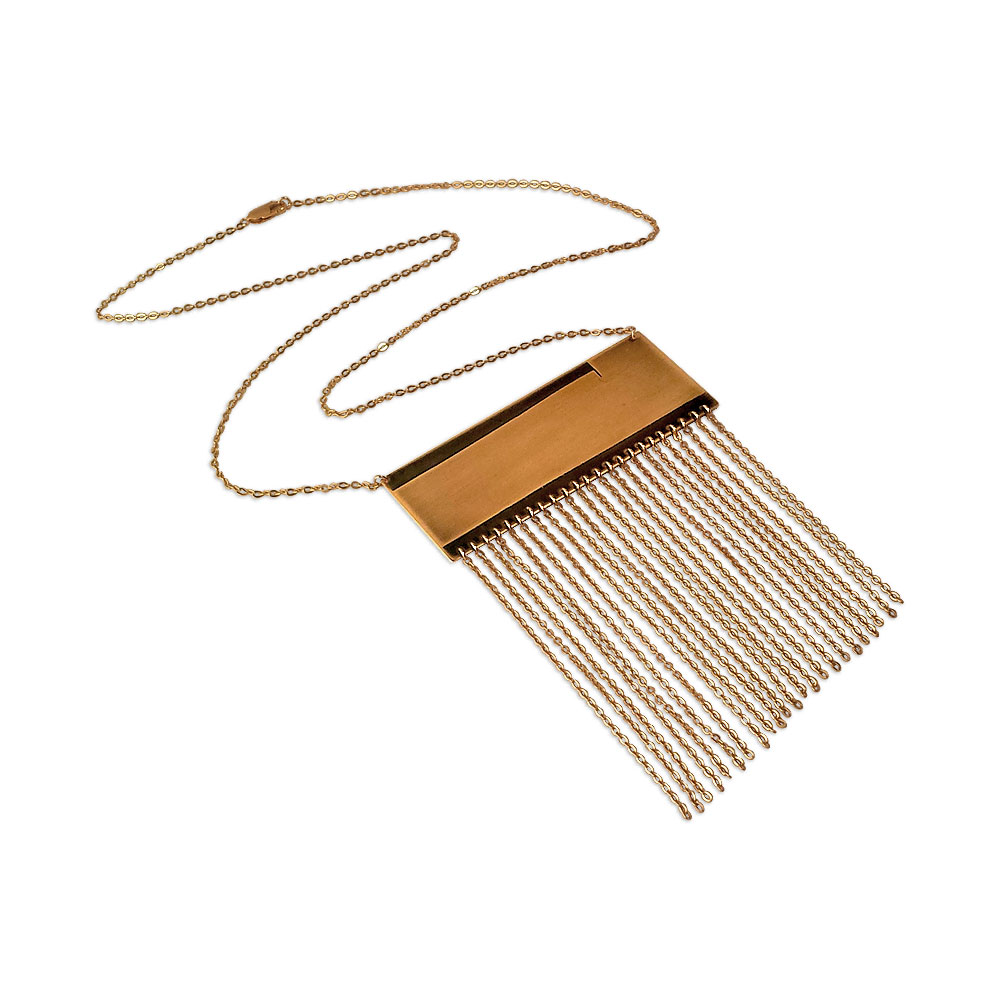 Fringe It! Necklace in etched brass with gold plated fringe