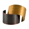 Large size Gridded Cuffs in Blackened Copper (bottom left) and Golden Brass (top right)