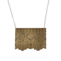 Lacy Necklace in Antique Brass with hand-cut edge on a sterling silver chain